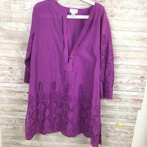 Soft Surroundings Purple Eyelet Tunic XL